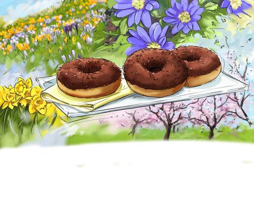 甜甜圈与美丽的花朵的剪影
