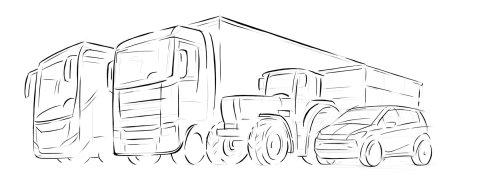 卡车和汽车的线条艺术