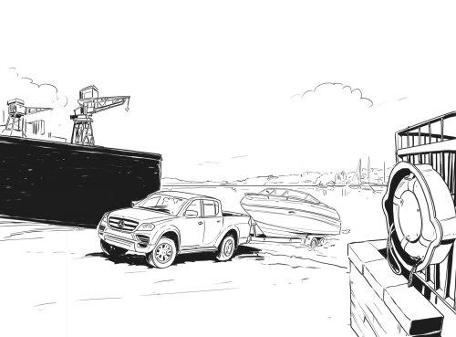 船俱乐部的汽车线条艺术