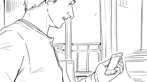 Line art of person with cellphone