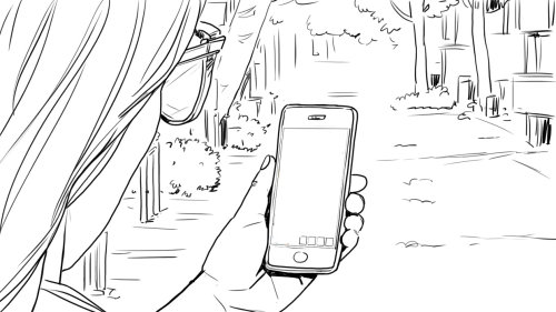 line art of womanwith mobile phone