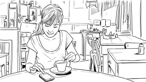 妇女在咖啡厅的线条艺术