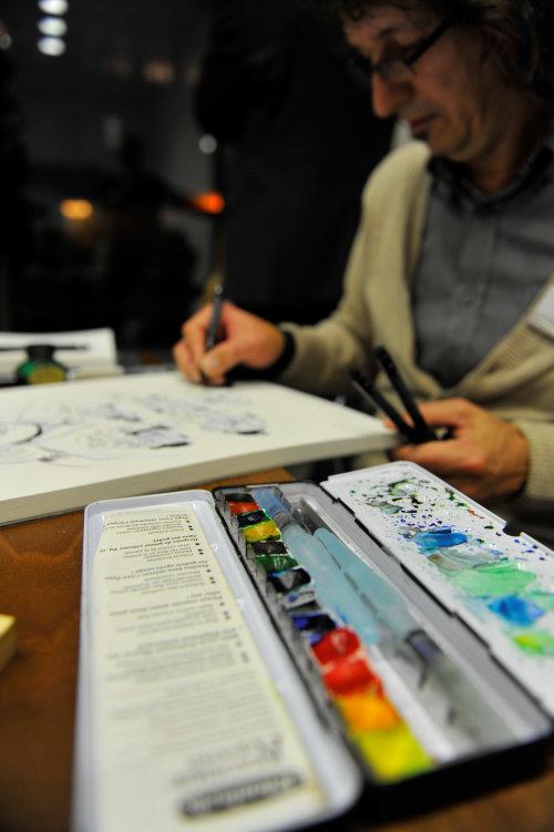 艺术家铅笔素描图