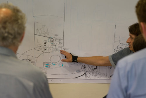 Line illustration of building interior
