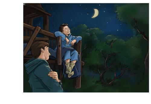 Loose illustration of boy watching moon