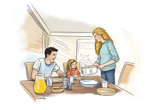 Loose illustration of family at dinner