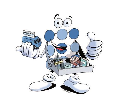 Smily cartoon character loose illustration