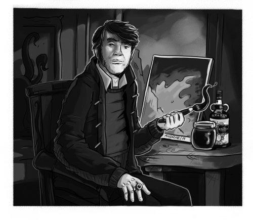 男人用油漆刷的松散插画风格