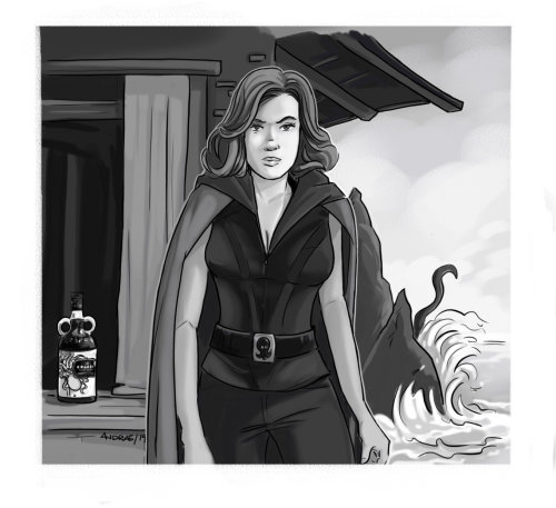 black and white loose illustration of woman