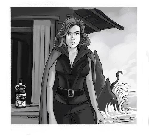 女人的黑白插图
