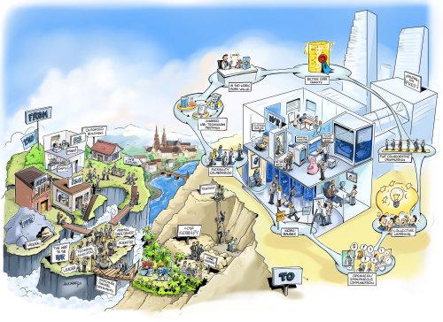 城市的彩色素描插图