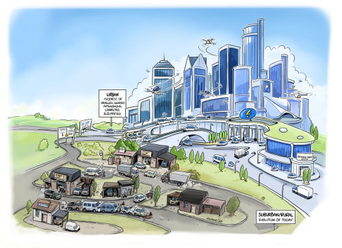 Colorful sketch of suburban city