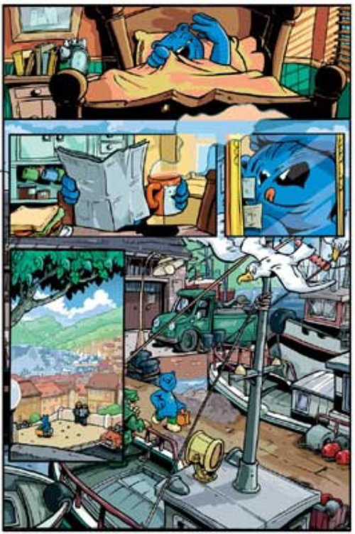 Comic characters in blue color reading paper