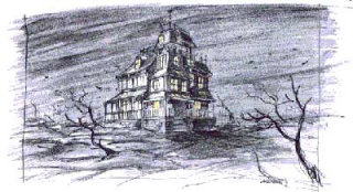 Old bungalow in a lonely place with heavy winds
