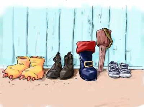 Different sizes of shoes with all colors on the ground