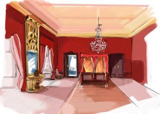beautiful red orange walls with good interior room