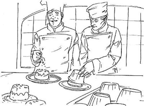 Line art of Two Chefs preparing cake.