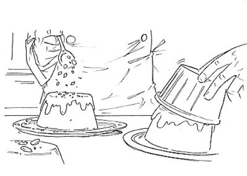 Line art of two cakes