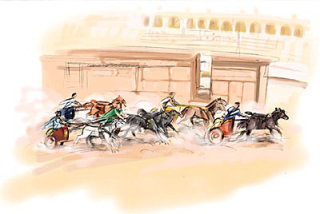charriot horse racing in the stadium with too many racers