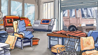 Office background with furniture and Car outside gate