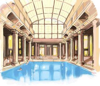 beautiful interior design with big swimming pool