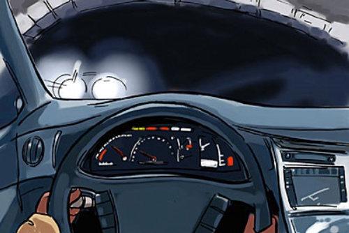 车内用车速表,黑暗的天空上的白灯