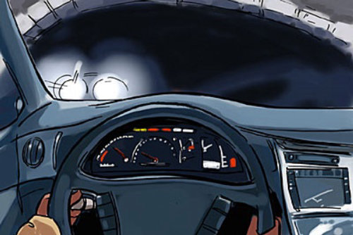 inside car with speedometer, white lights on the dark sky