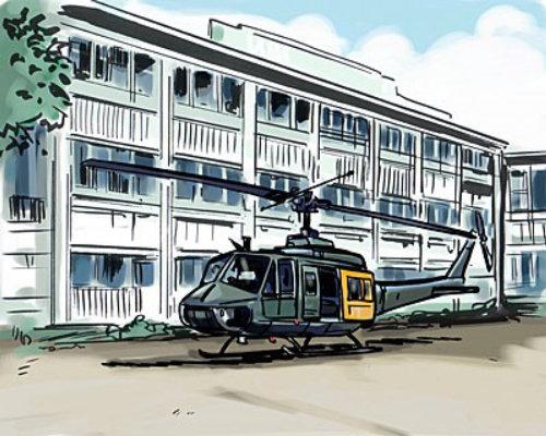 在幕后建筑中,直升机降落在房屋前