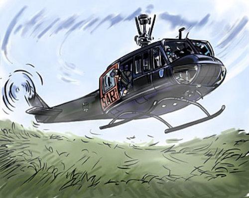 直升机降落在草地上,青山