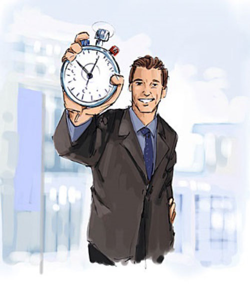 Neatly dressed man standing with a stop watch in hand