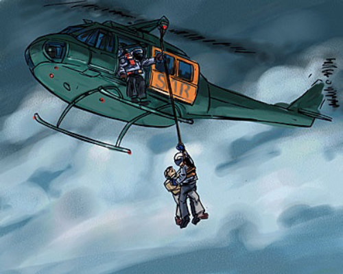 helicopter flying in the sky, man getting down from helicopter with help of rope
