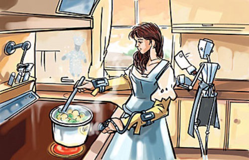 Women cooking food in the kitchen, Robot in background with Big Knife