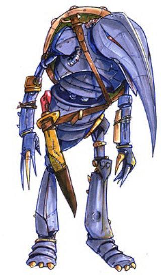 Blue Robotic bird with knife
