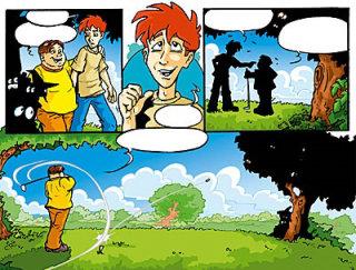 Cartoon drawing of a boy in the Golf club hitting a shot