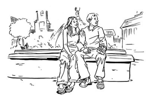 Line art of a couple sitting on the bench with buildings in the back