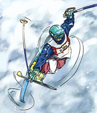 Display of man doing Ice Skiing from top view