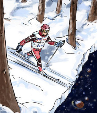 Man doing Ice Skiing with trees all around