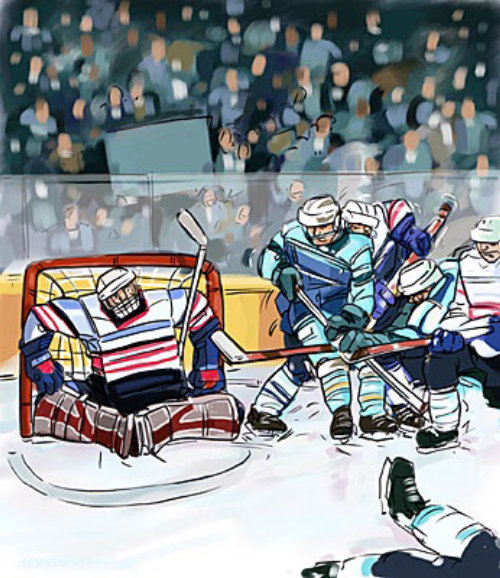 Players trying to goal in ice hockey game and person in front of net