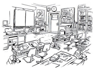 Line art of office background with chairs and other equipment