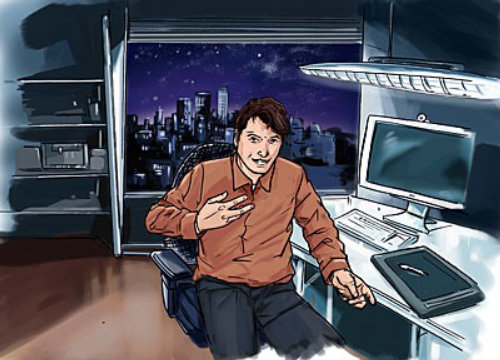 man with brown shirt sitting in the room, computer on the table, city in the background