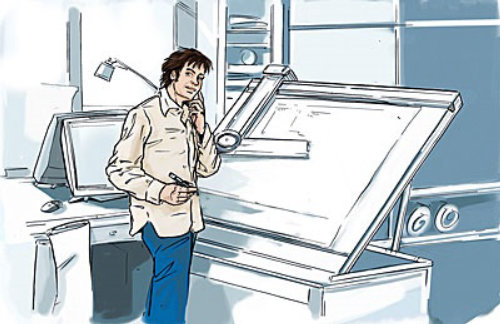 man standing with telephone and pen in hand drawing plan