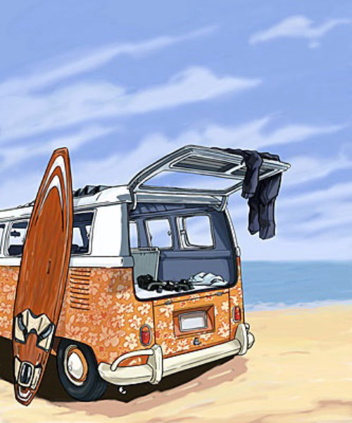 van in the beach, surf board leaning on the vehichle, sand beach