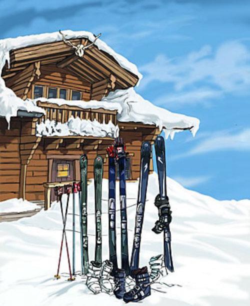 wooden house in the snow, ski equipment outside, blue sky