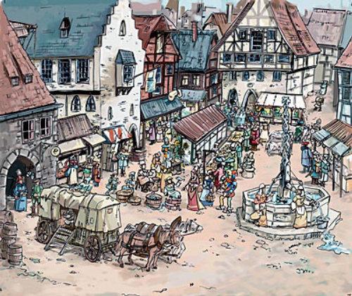 旧城街道,马车在路上,雕像在中心