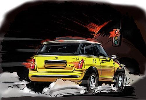 黄色的车在马路上,夜晚的天空