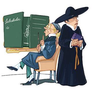 old man sitting in the classroom, women in scholar dress