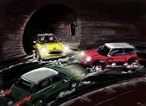 有水的道路,彼此相对的3辆汽车,黄色红色和绿色车辆