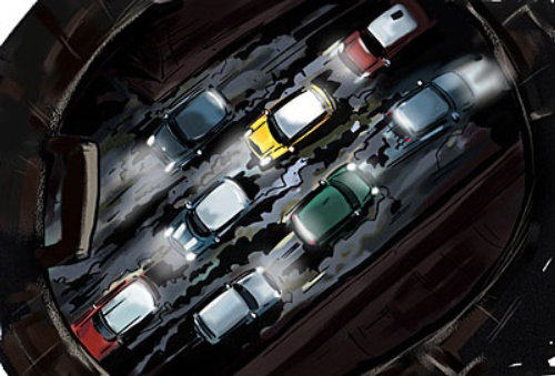 汽车在路上,街顶视图,交通拥堵