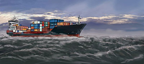 Ship with containers moving in the rough sea, black metal with colored boxes in the water