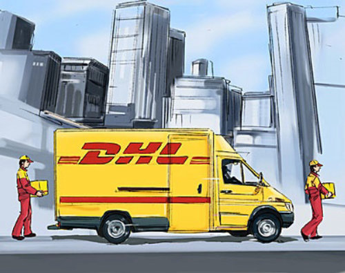 DHL van with yellow color on the road, buildings in the background